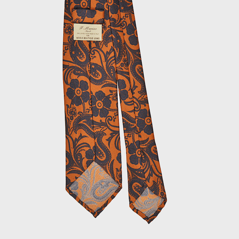F.Marino Handmade Silk Tie 3-Fold Liberty Garden | Orange