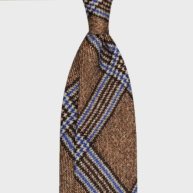 F.Marino Handmade Panama Silk Tie 3-Fold Brown Prince of Galless