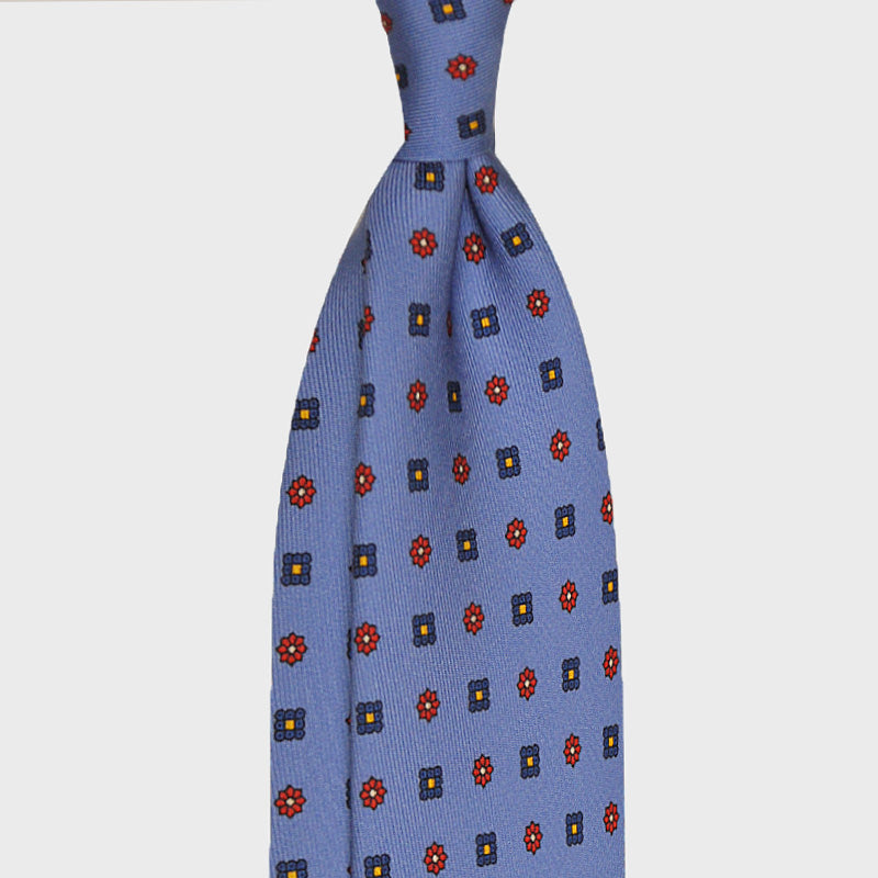 F.Marino Handmade Silk Tie 3-Fold Micro Daisy Diamonds Light Blu