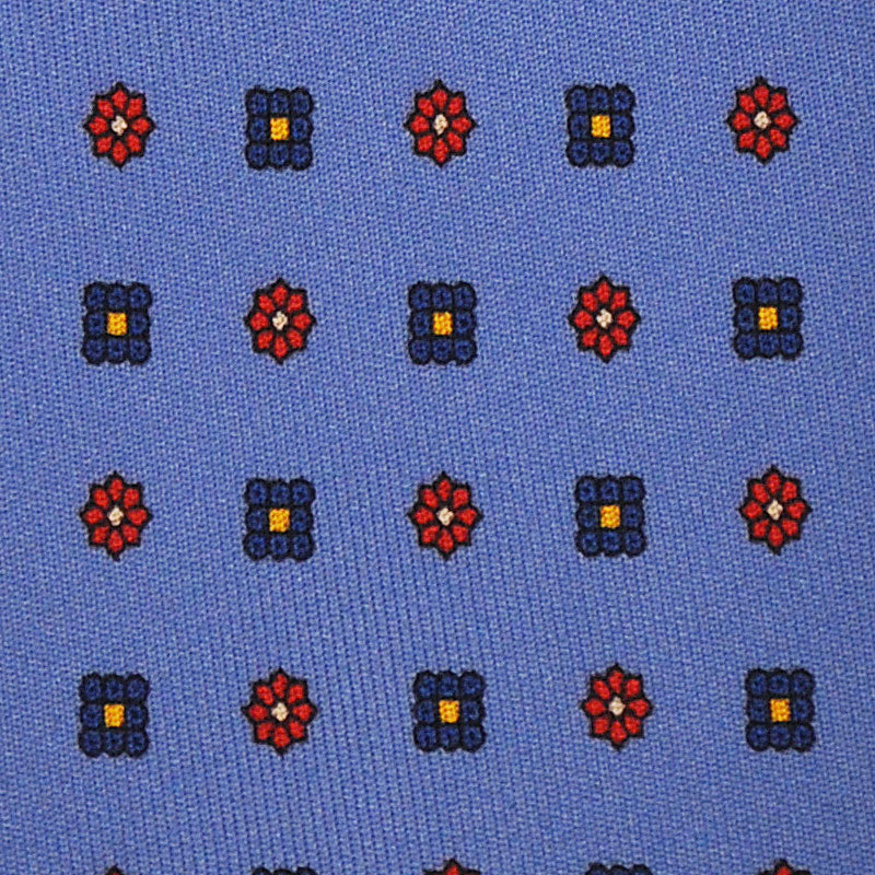 F.Marino Handmade Silk Tie 3-Fold Micro Daisy Diamonds | Light Blu