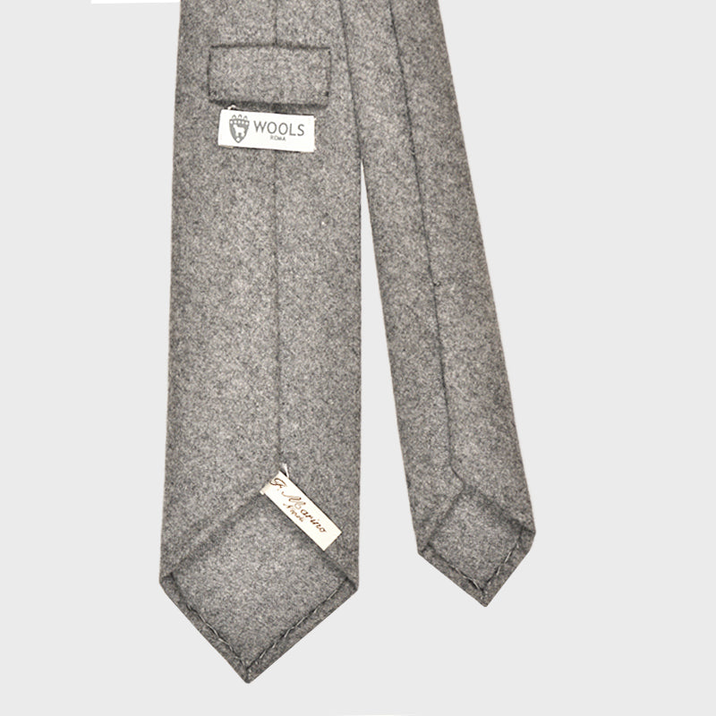 F.Marino Handmade Wool Tie 3-Fold Cloud Grey