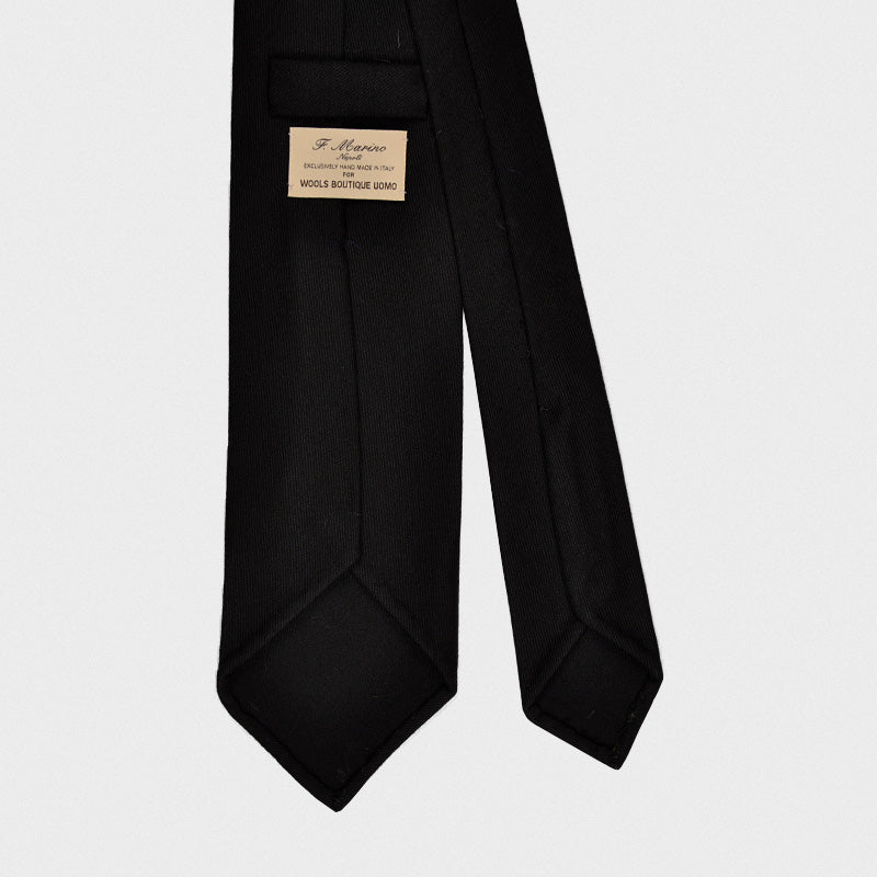 F.Marino Handmade Wool Tie 3-Fold Holland&Sherry Black