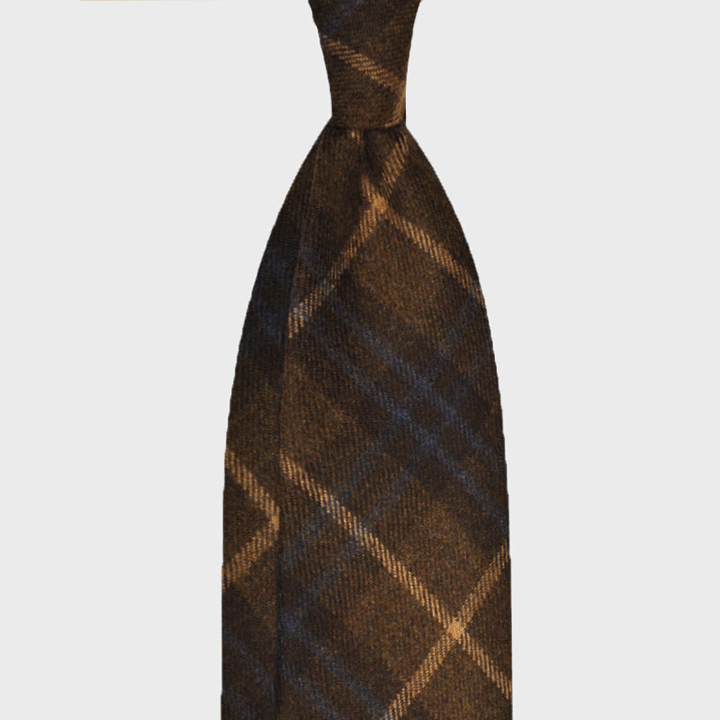 F.Marino Handmade Tie 3-Fold Holland&Sherry Wool Tartan Brown