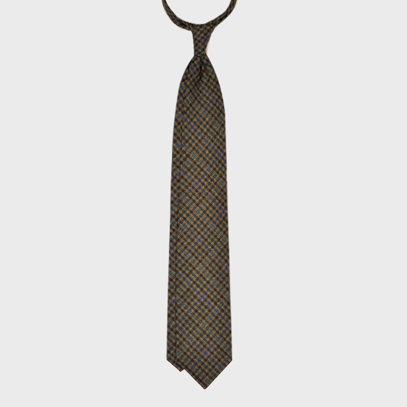 F.Marino Handmade Tie 3-Fold Holland&Sherry Wool Check Forest