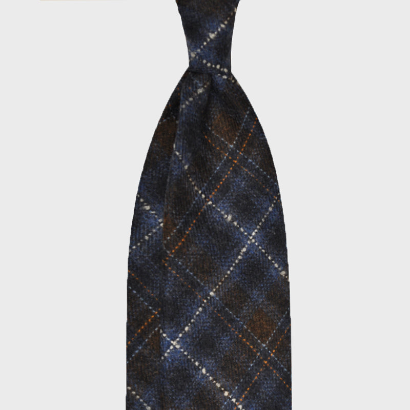 F.Marino Handmade Tie 3-Fold Holland&Sherry Wool Prince of Wales