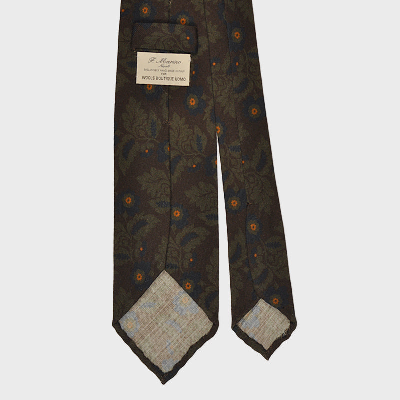F.Marino Handmade Wool Tie 3-Fold Liberty Brown