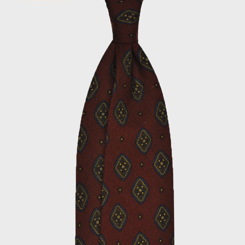 F.Marino Handmade Wool Tie 3 Fold Diamonds Bordò