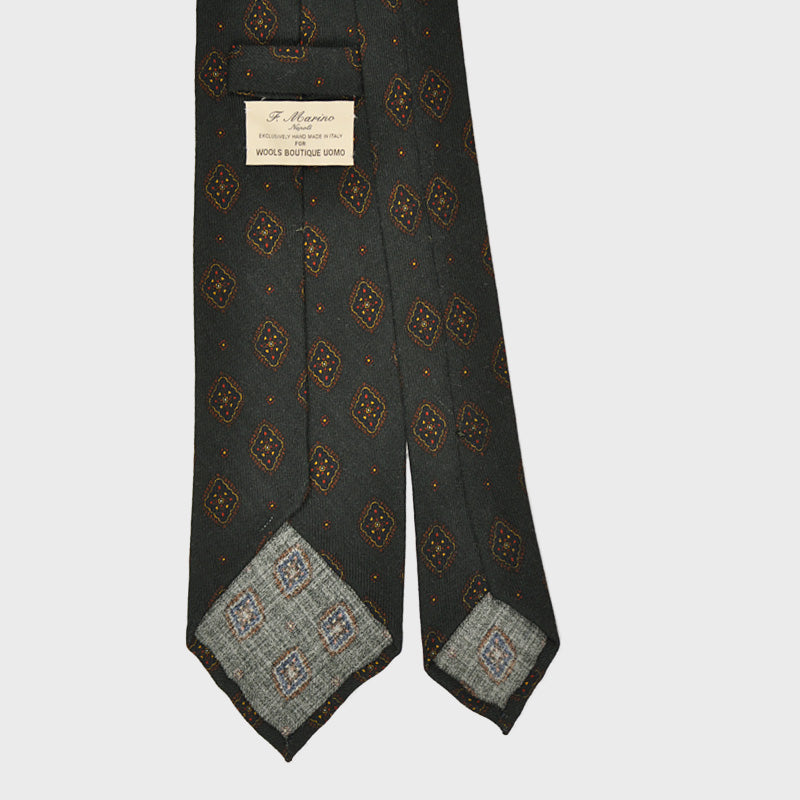 F.Marino Handmade Wool Tie 3-Fold Diamonds Green