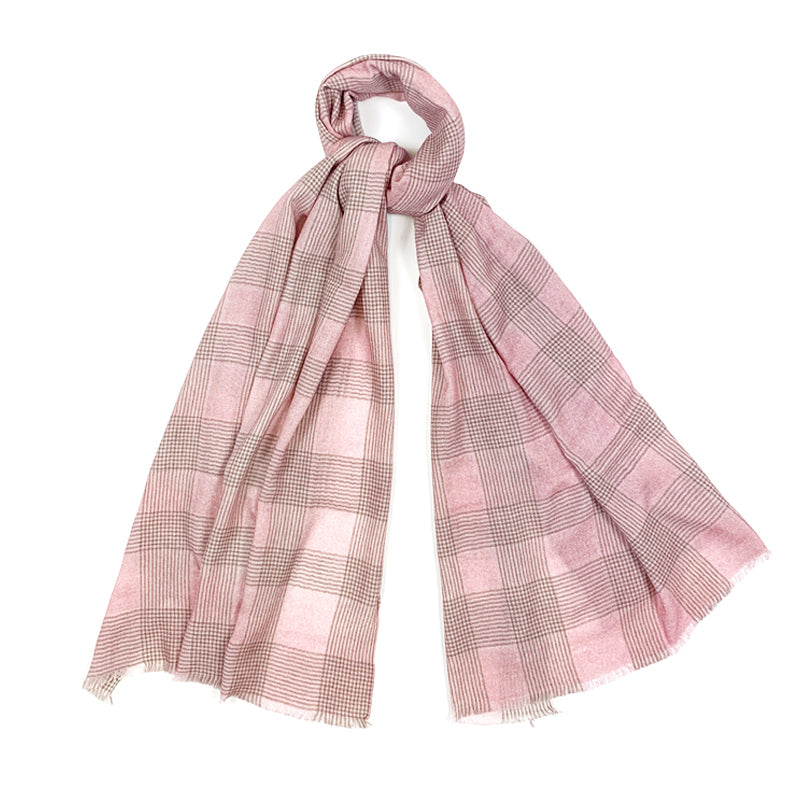 Luxury Cashmere Scarf Handmade 19andreas47 Pink Glencheck