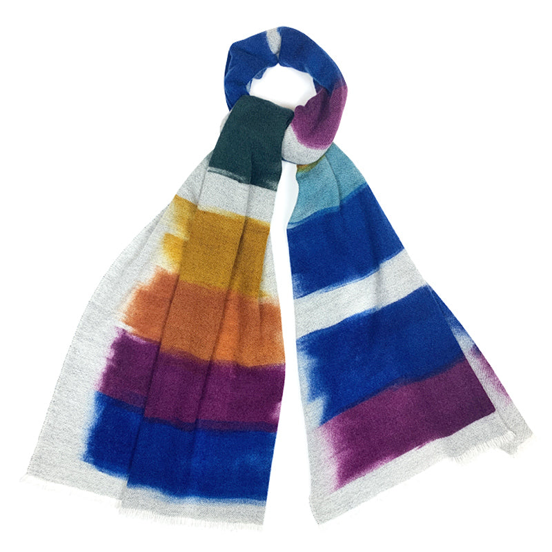 Luxury Cashmere Scarf Handmade 19andreas47 Brush Rainbow