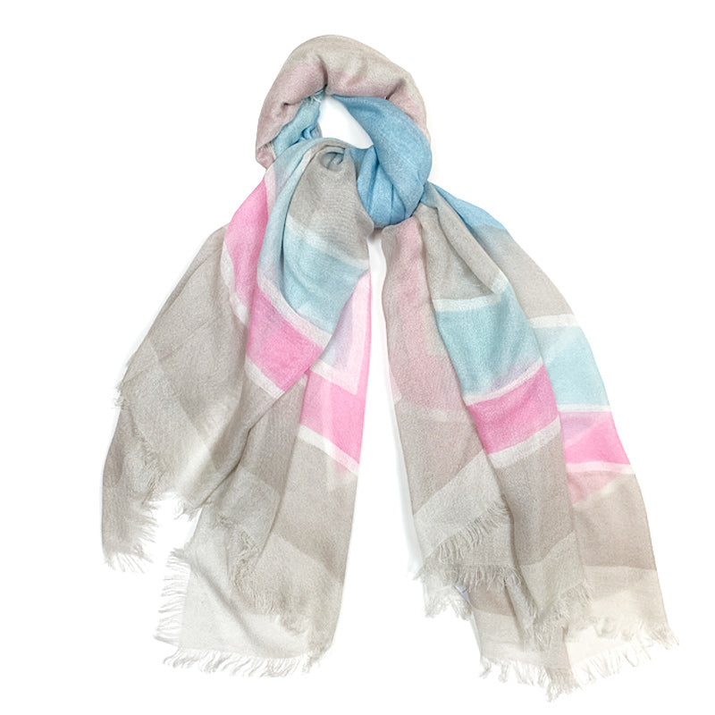 Handmade Cashmere Silk Shawl Scarf 19andreas47 Optical Pink