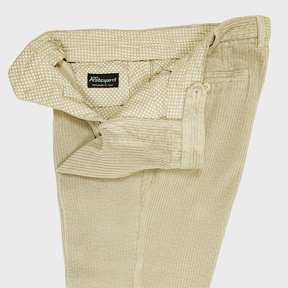 Rota Men's Trousers Single Pleats Corduroy Cotton Beige