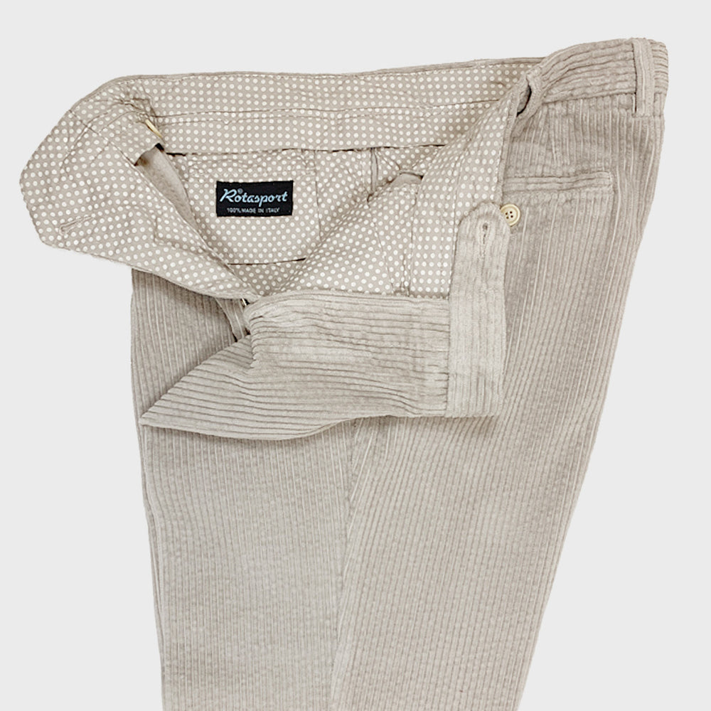 Rota Men's Trousers Single Pleats Corduroy Cotton Sand