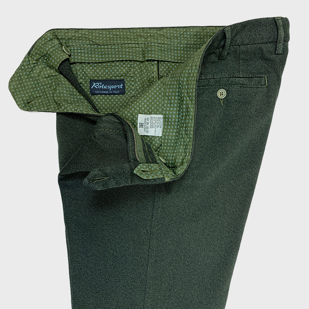 Rota Men's Trousers Single Pleats Gabardine Cotton Green