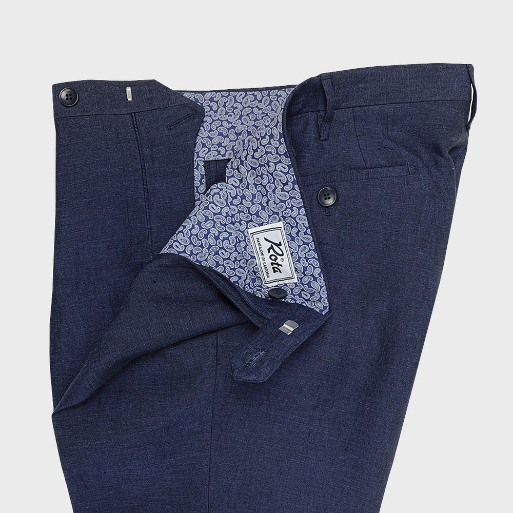 Rota | Handmade Men's Linen Classic Trousers Spring Summer Pleat | Navy Blue