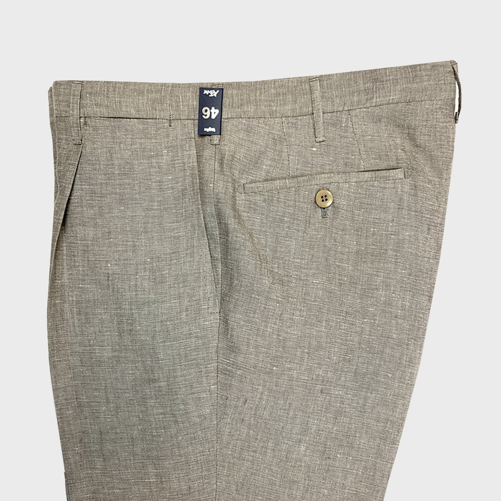Rota Spring Summer Linen Pants with Pleat Brown Rope