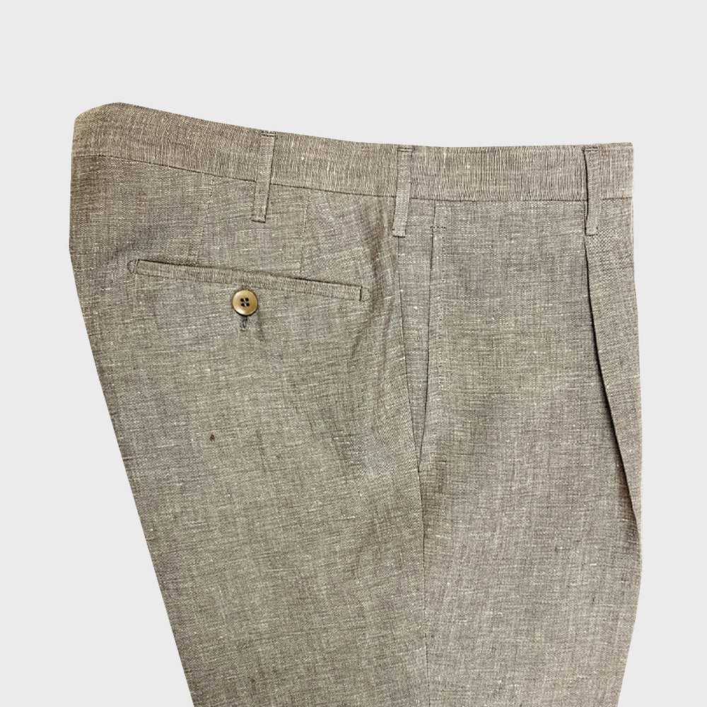 Rota | Handmade Men's Linen Classic Trousers Spring Summer | Brown Rope
