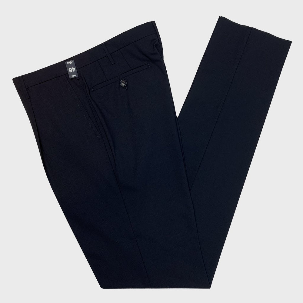 Rota | Handmade Men's Wool Classic Trousers Pleat Spring Summer | Dark Blue