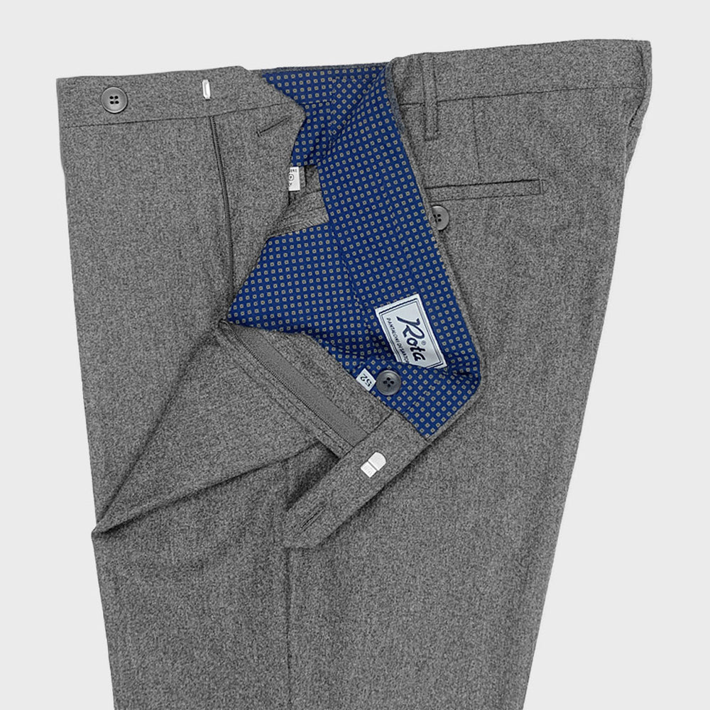 Rota | Men's Wool Trousers Whitout Pleats | Smoke Grey