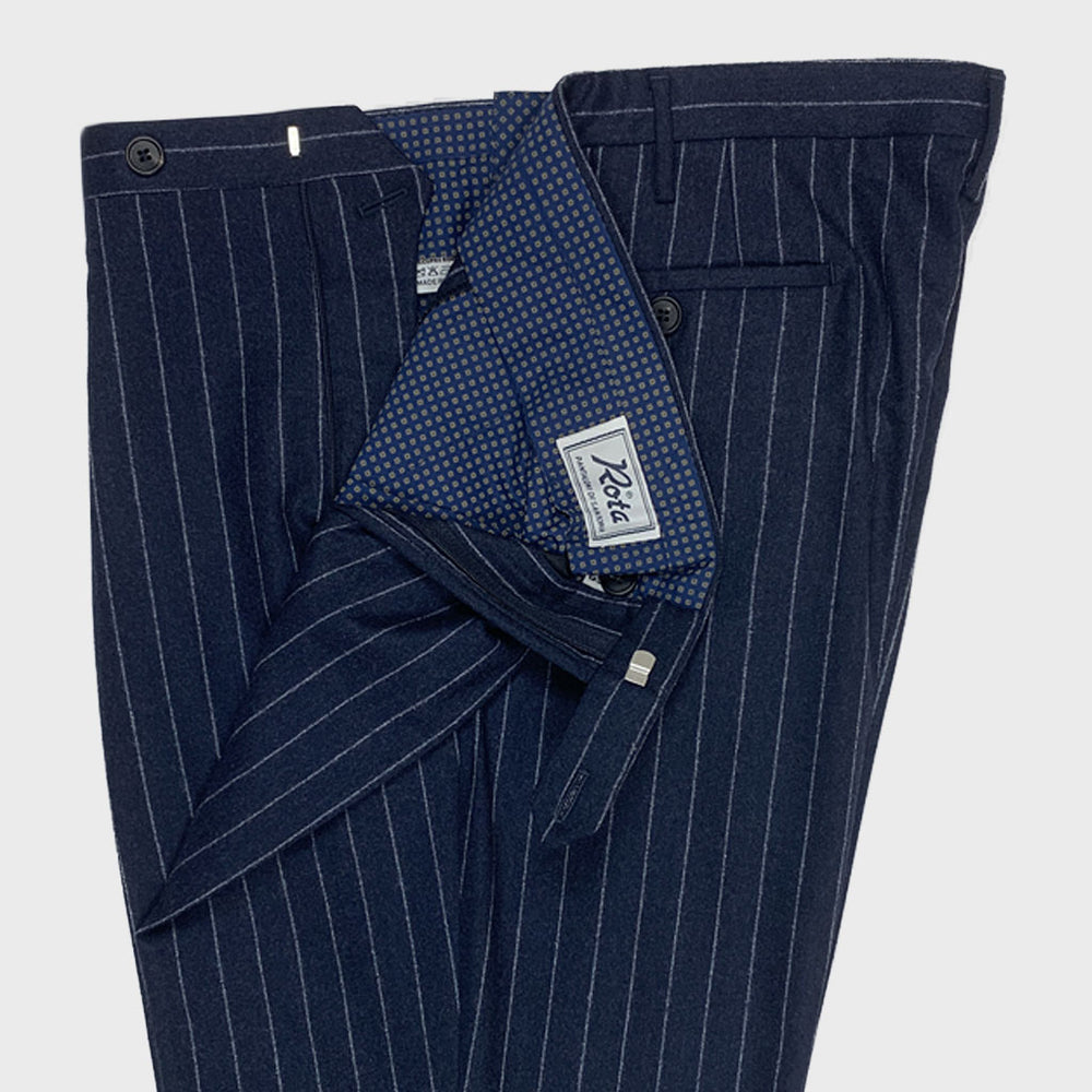 Rota | Men's Wool Trousers Pinstripe | Blu