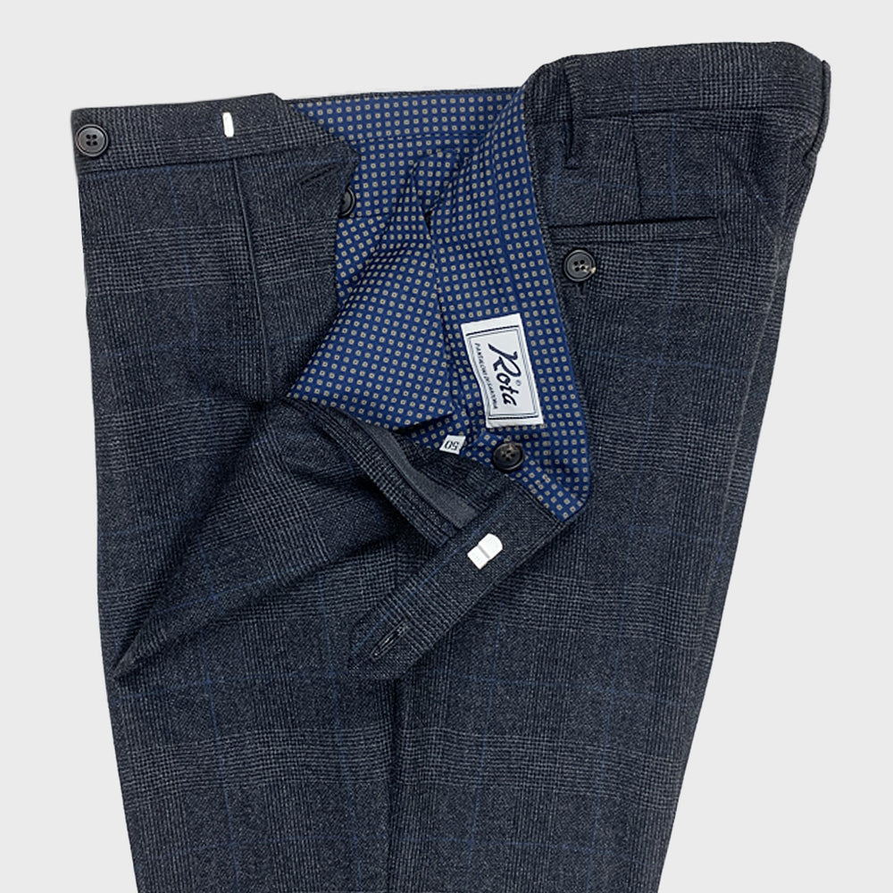 Rota | Men's Wool Trousers | Glen Plaid