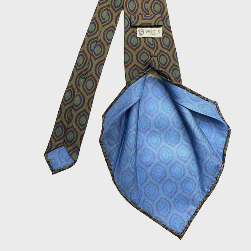 F.Marino Handmade 7-Fold Vintage Geometry Untipped Silk Tie Green Large