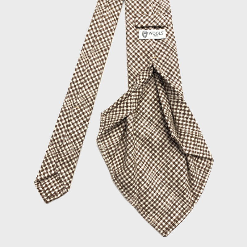Francesco Marino Handmade 7-Fold Wool Tie Prince of Walles Brown White