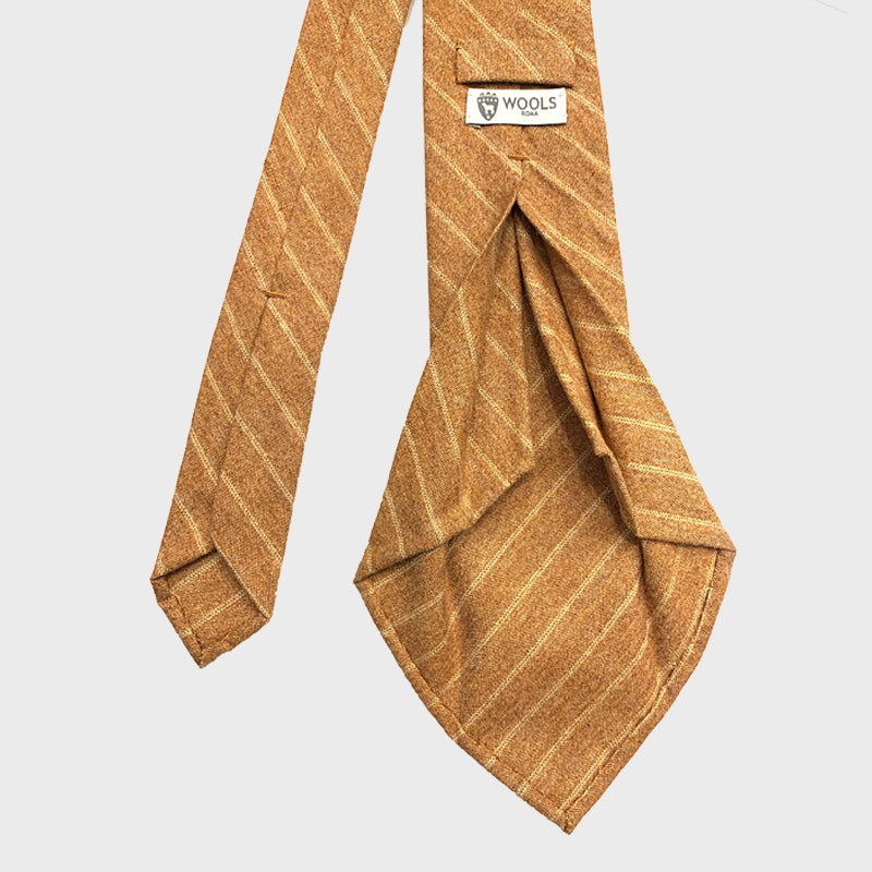 Francesco Marino Handmade 7-Fold Wool Tie Regimental Orange Medio