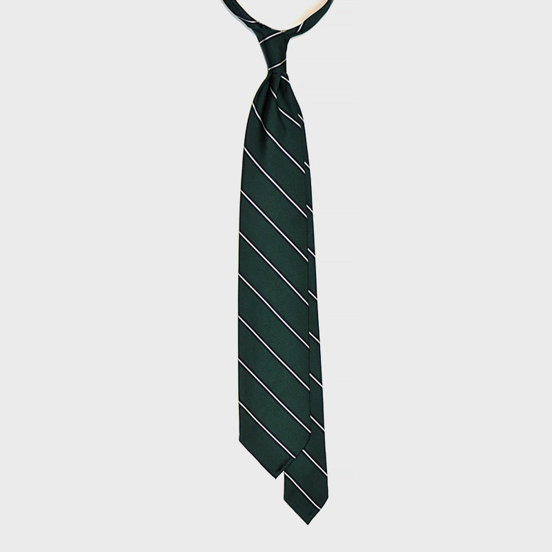 F.Marino Handmade 3-Fold Untipped Regimental Silk Tie Emerald