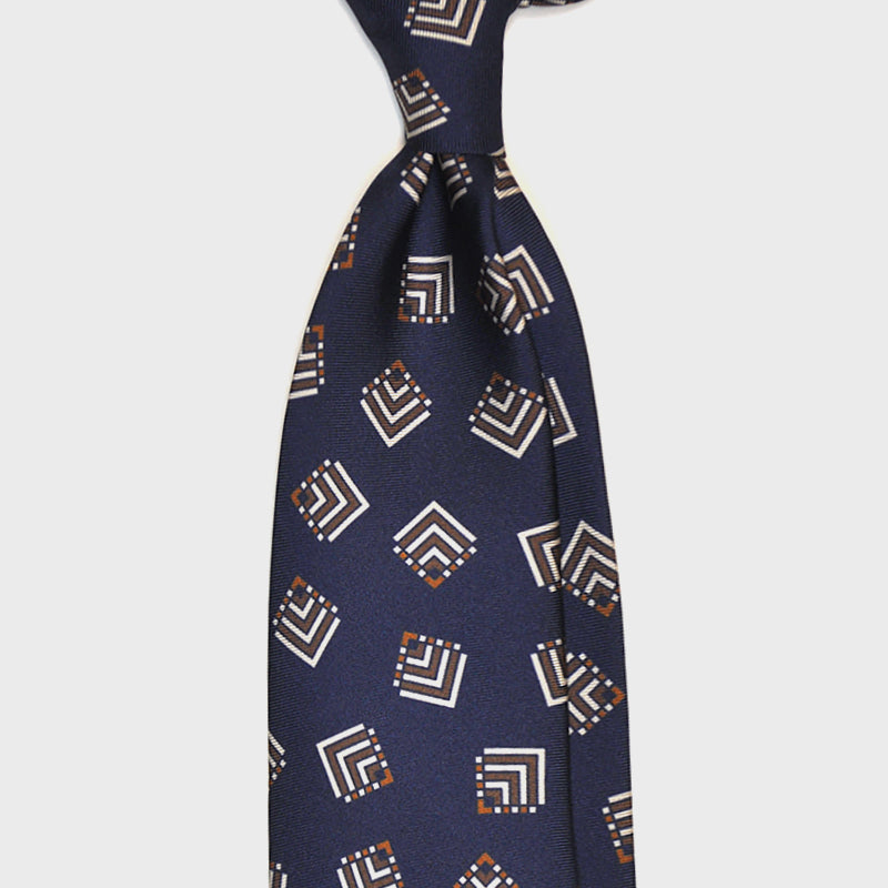 F.Marino Handmade 3-Fold Untipped Vintage Geometry Silk Tie | Blue