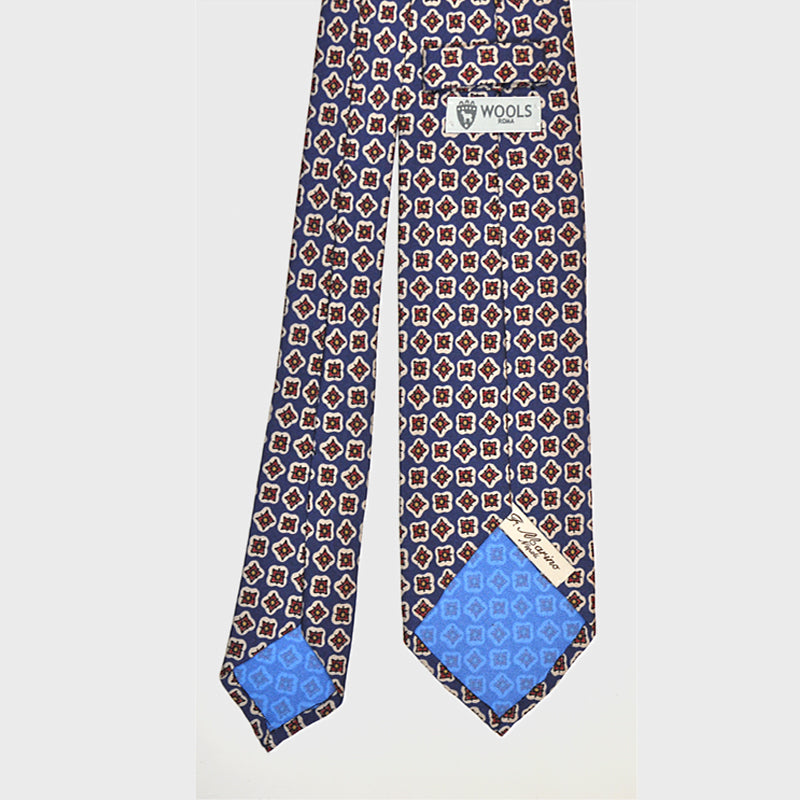 F.Marino Handmade 3-Fold Untipped Diamond Print Silk Tie | Blue