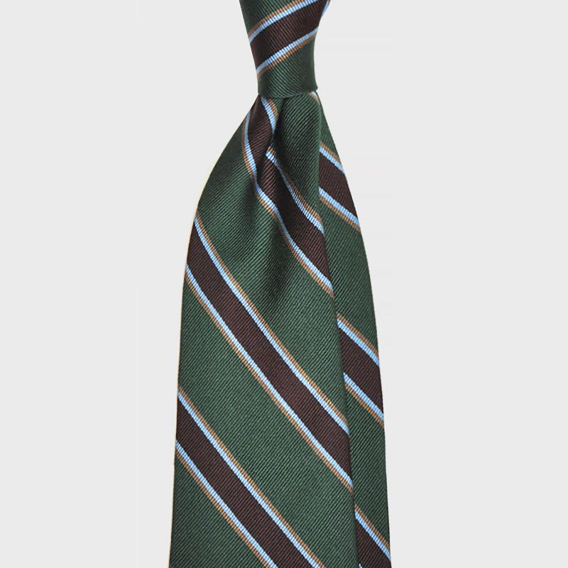 F.Marino Handmade 3-Fold Untipped Regimental Silk Tie | Bottle Green