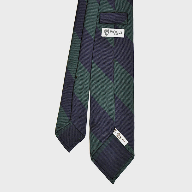 F.Marino Handmade 3-Fold Untipped Regimental Silk Tie Green Block