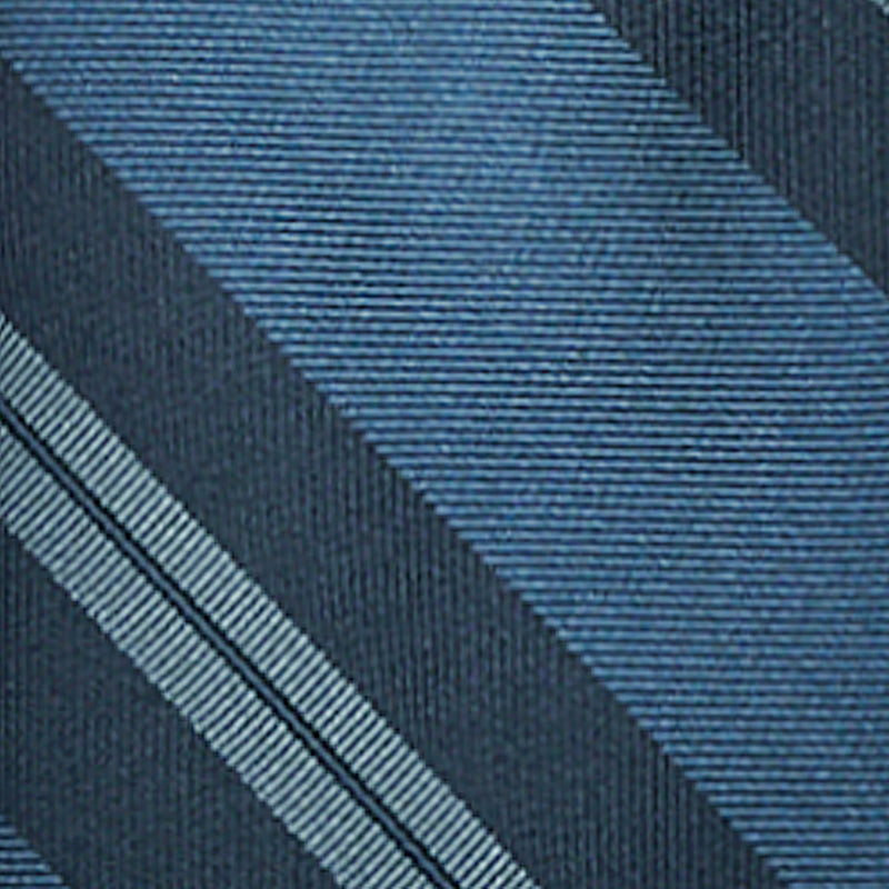 F.Marino Handmade 3-Fold Untipped Regimental Silk Tie | Petroleum Navy