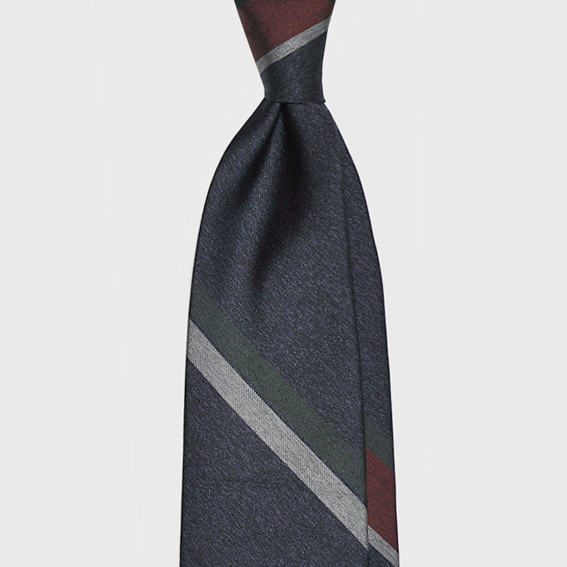 F.Marino Handmade 3-Fold Untipped Regimental Silk Tie | Block Navy Melange