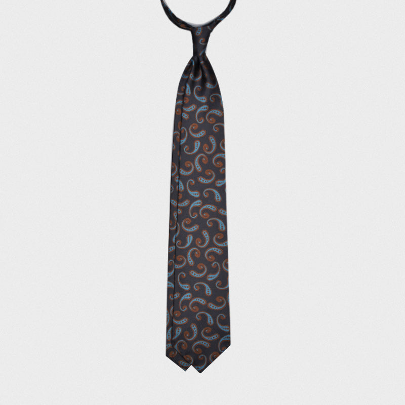 F.Marino Handmade 3-Fold Untipped Fantasy Pattern Silk Tie | Navy