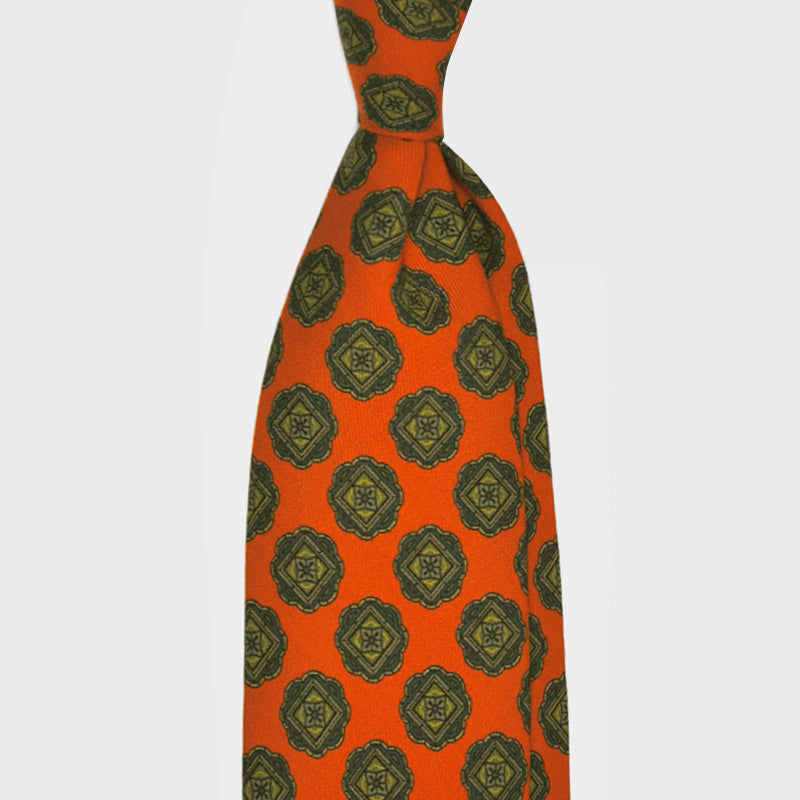 F.Marino Handmade 3-Fold Untipped Medallion Wool Tie Orange