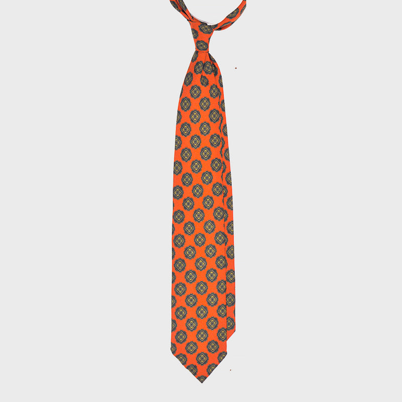 F.Marino Handmade 3-Fold Unlined Medallion Wool Tie | Orange