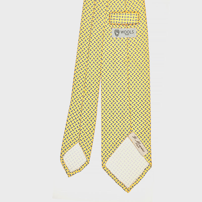 F.Marino Handmade 3-Fold Untipped Geometries Silk Tie | Yellow