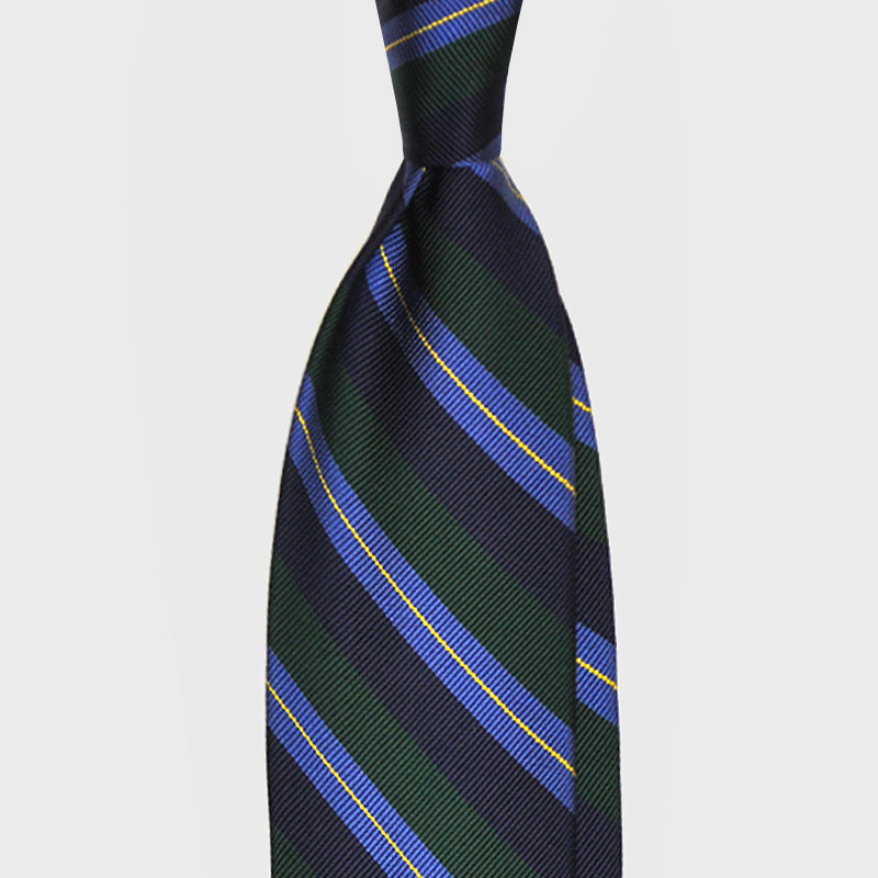 F.Marino Handmade 3-Fold Untipped Regimental Silk Tie | Green Blue