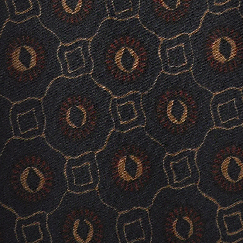 F.Marino Handmade 3-Fold Vintage Pattern Untipped Silk Tie Dark Blue