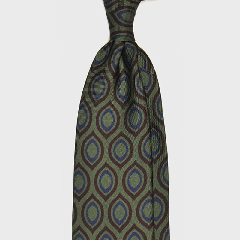 F.Marino Handmade 3-Fold Vintage Geometry Untipped Silk Tie Green Large