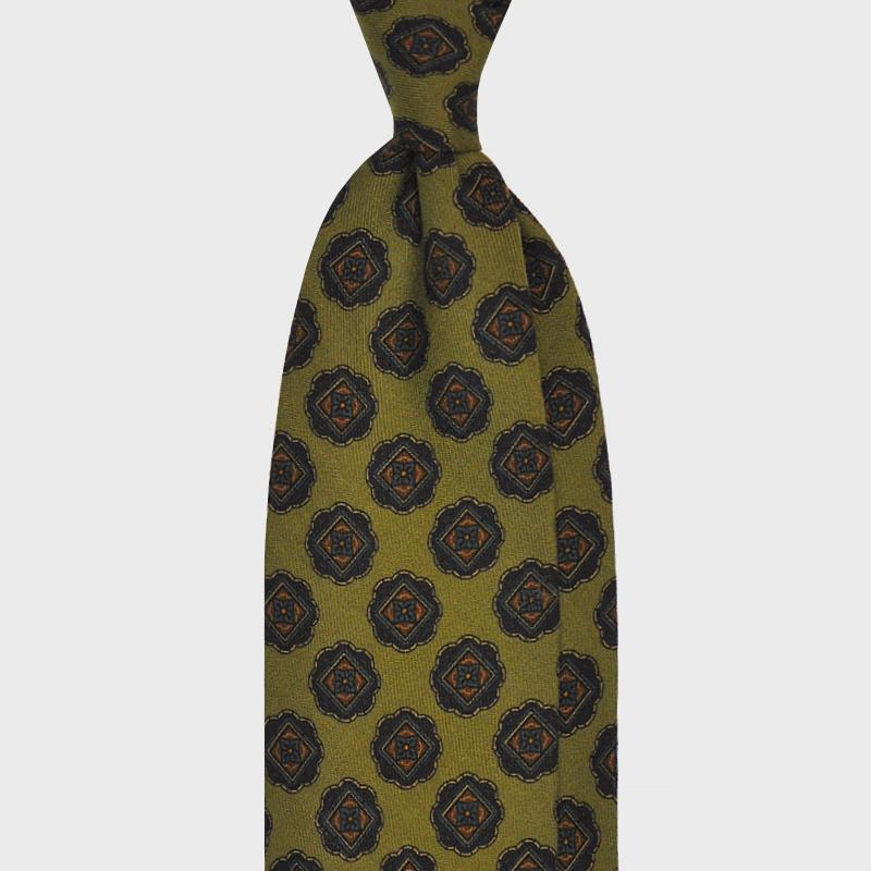 F.Marino Handmade 3-Fold Untipped Medallion Wool Tie | Green
