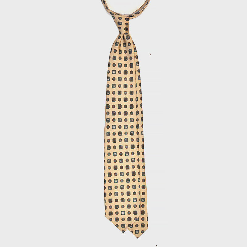 F.Marino Handmade 3-Fold Untipped Diamond Silk Tie | Cream