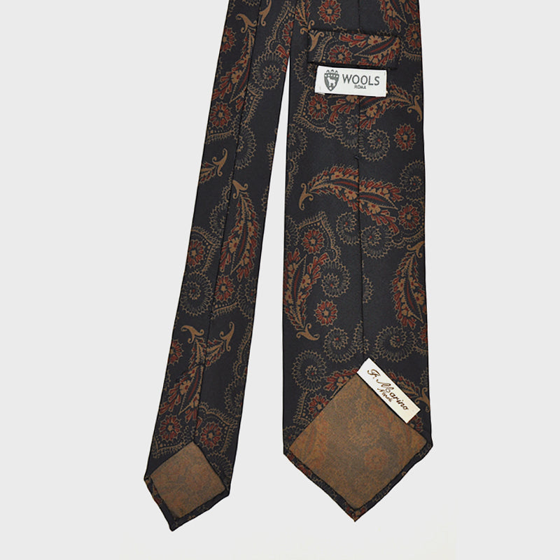 F.Marino Handmade 3-Fold Untipped Liberty Silk Tie | Anthracite