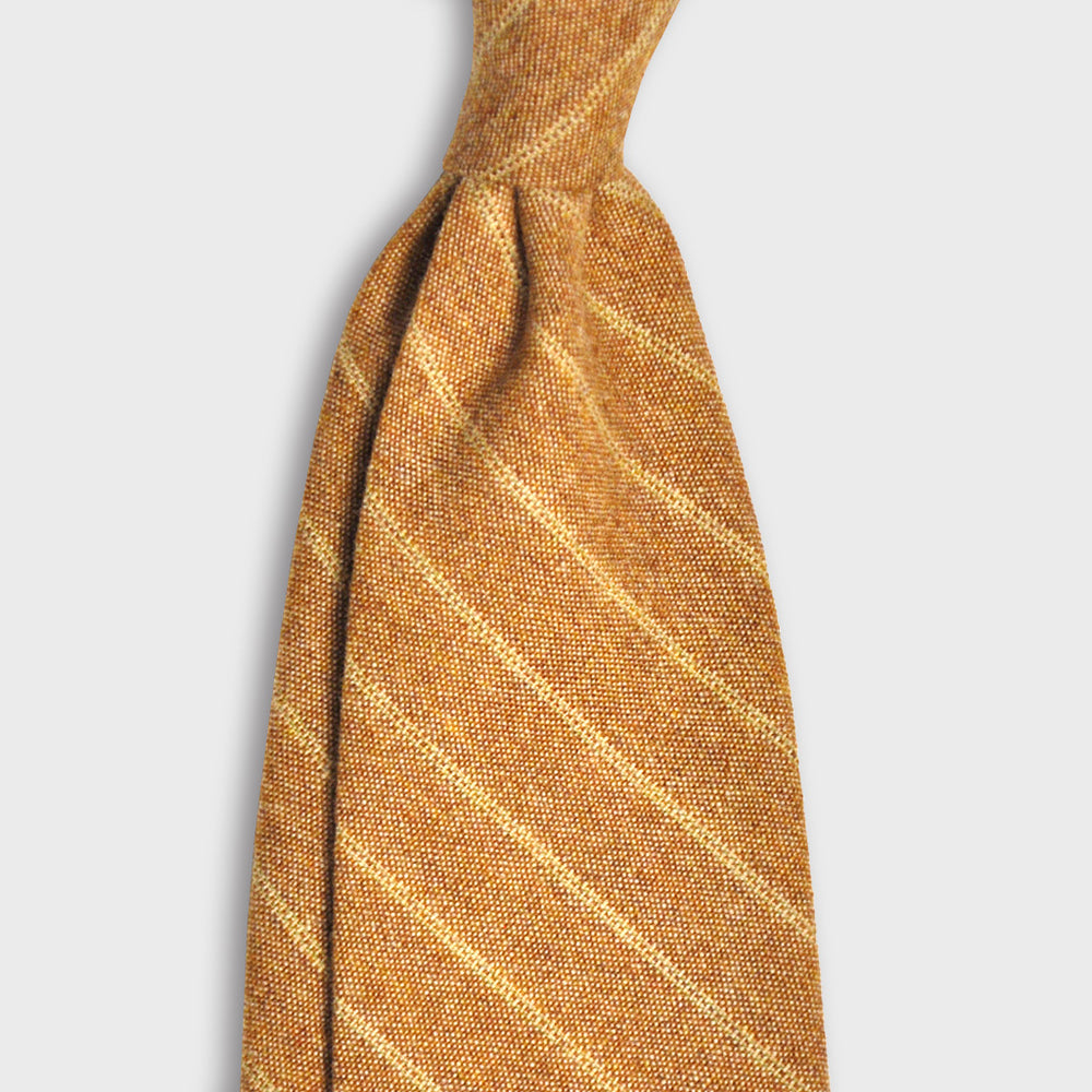 Francesco Marino Handmade 7-Fold Wool Tie Regimental | Orange Medio