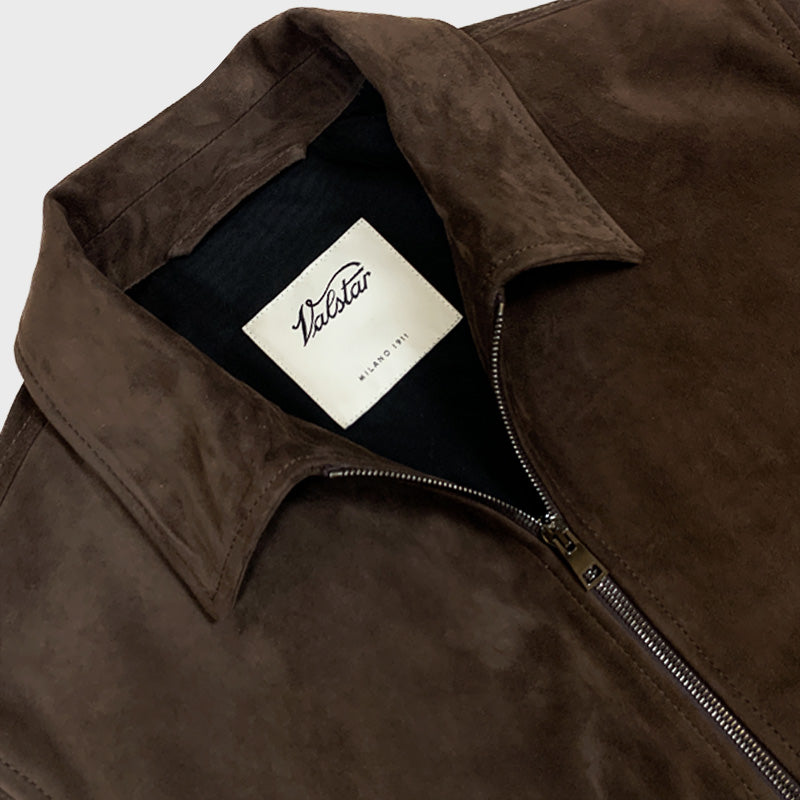 Valstar Blouson Suede Zip Jacket Brown Caffè