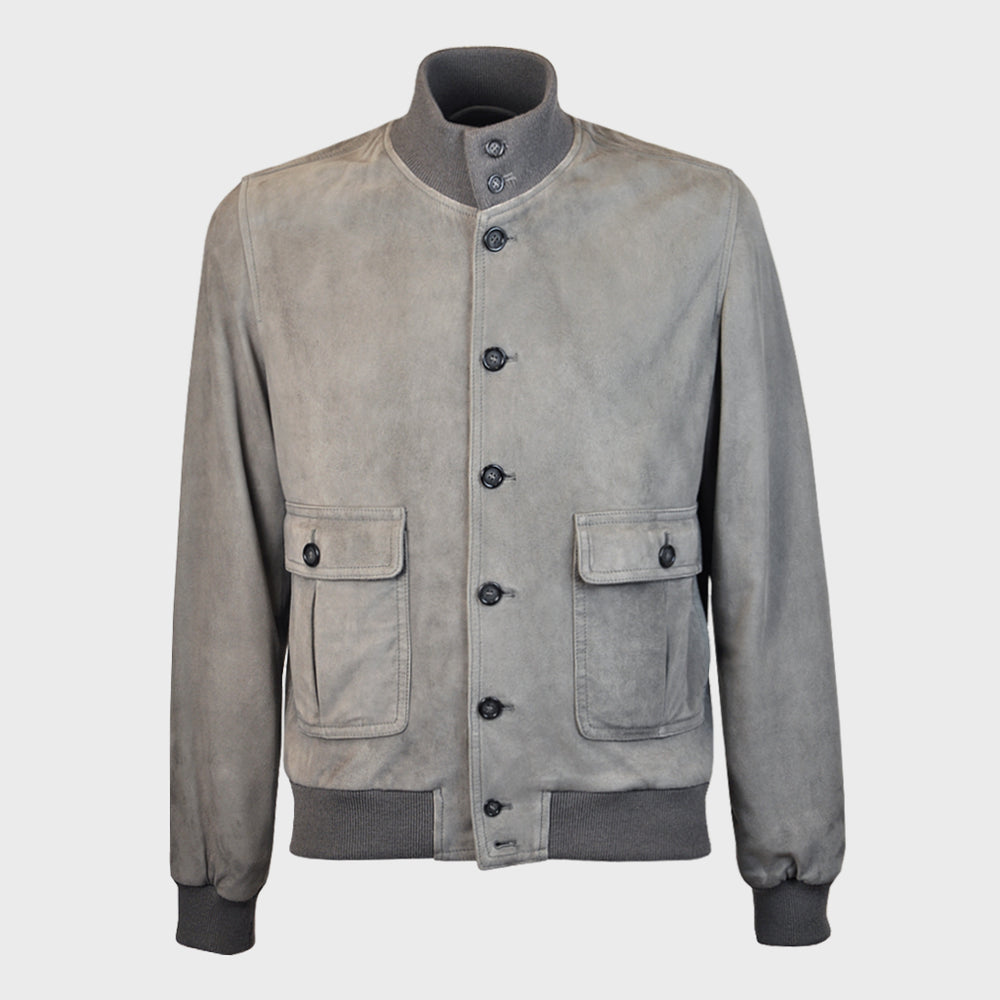 Valstar | Valstarino Lined Flight Jacket | Suede Grey Metal