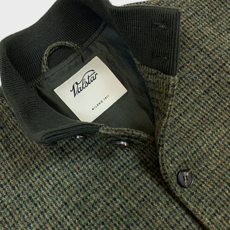 Valstarino Flight Jacket Houndstooth Shetland Harris Tweed