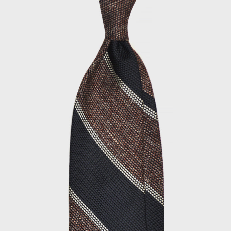 F.Marino Handmade 3-Fold Untipped Regimental Grenadine Silk Tie | Bordò